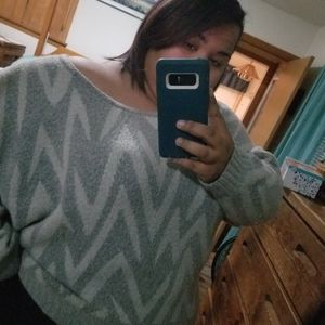 Lane Bryant- oversized grey and white sweater